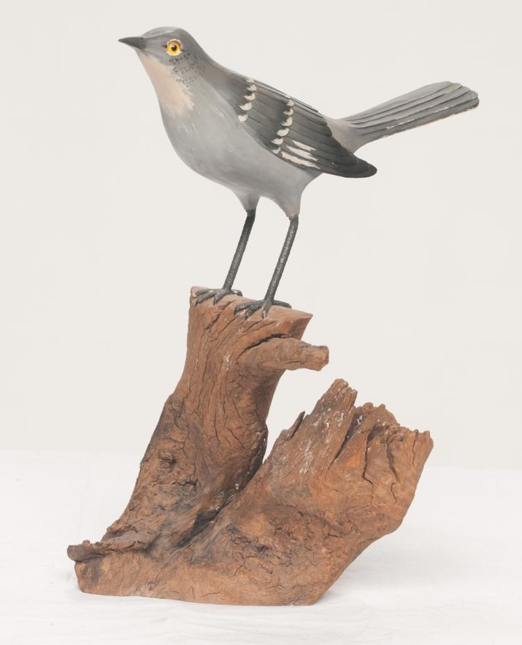 Hand carved and decorated wooden Mockingbird, carved by John Maxwell and decorated by Lyn Wright, especially made for Tom T. Hall, 11