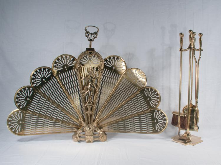 Brass fan fire screen with figural decoration and a set of four brass fire tools and a stand