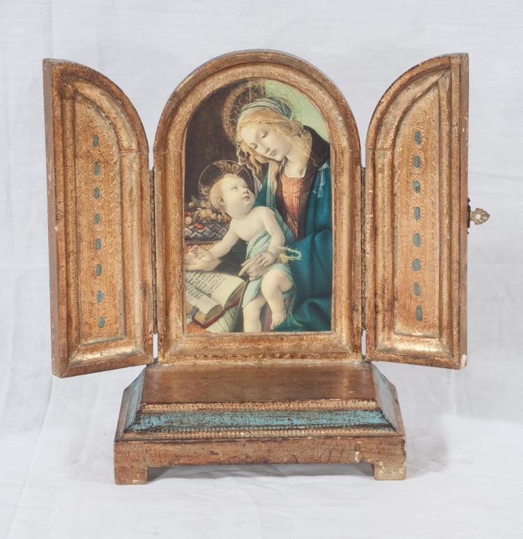 Gold gilt and decorated triptych with Mary holding the baby Jesus, 7