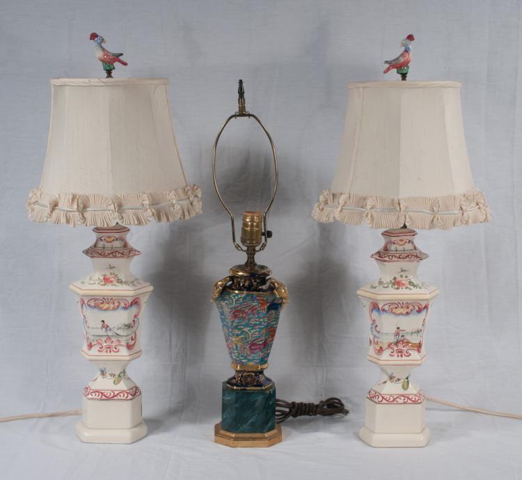 Pair of white porcelain lamps with scenic and floral decoration, 27