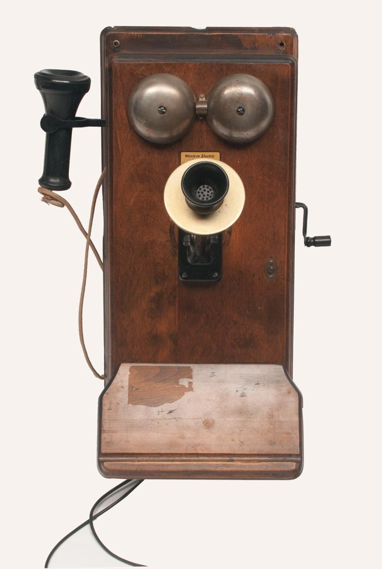 Western Electric Co. elm wood wall phone with hand crank, 20