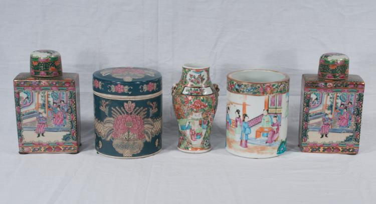 Pair of Chinese rose medallion covered jars, a round Chinese porcelain covered jar, an open Chinese rose medallion jar and a small Chinese rose medallion vase, five pieces
