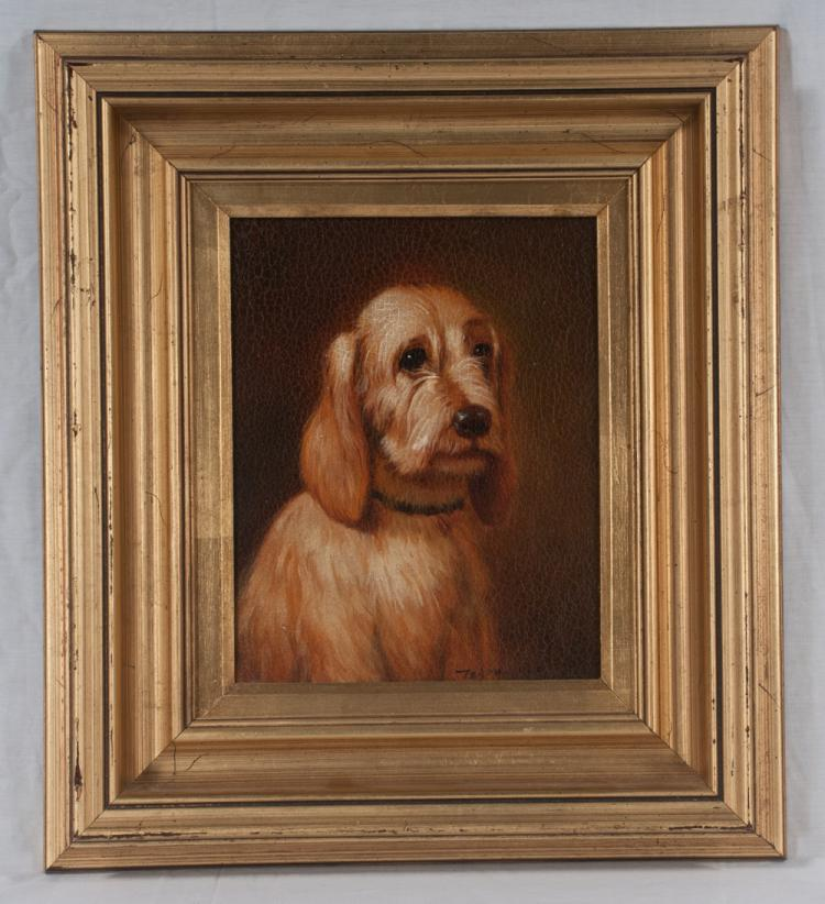 Oil painting on canvas of a dog in a gold frame, canvas size 10