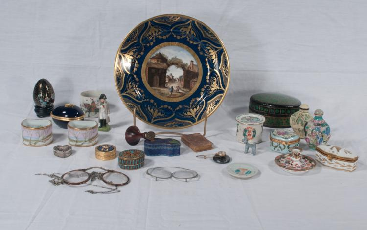 Collection of miniature porcelain and china pieces and a cobalt blue china plate
