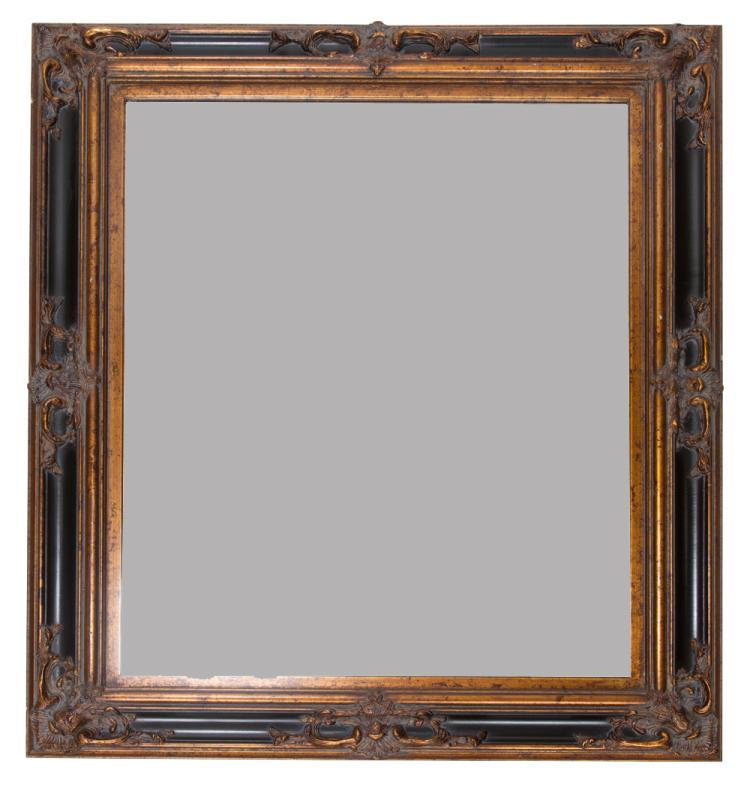 Black and gold gilt bevelled edge Venetian style mirror, 51
