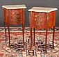 Pair of Louis XV style bronze mounted serpentine front marble top stands with marquetry inlay, 17