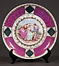 Austrian china plate with garden scene and figural decoration, marked