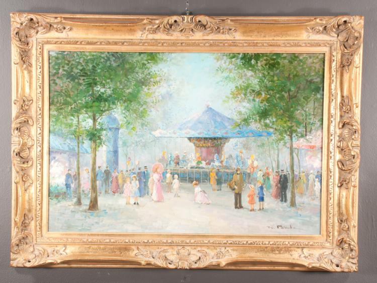 Oil painting on canvas Impressionist street scene with a group of people and a carousel, signed T.E. Pencke, canvas size 24