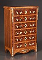 Miniature French walnut six drawer chest with bronze mounts, c.1920, 12
