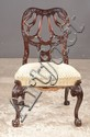 Georgian mahogany side chair with carved back on cabriole legs with scroll carved knees and ball and claw feet, 22