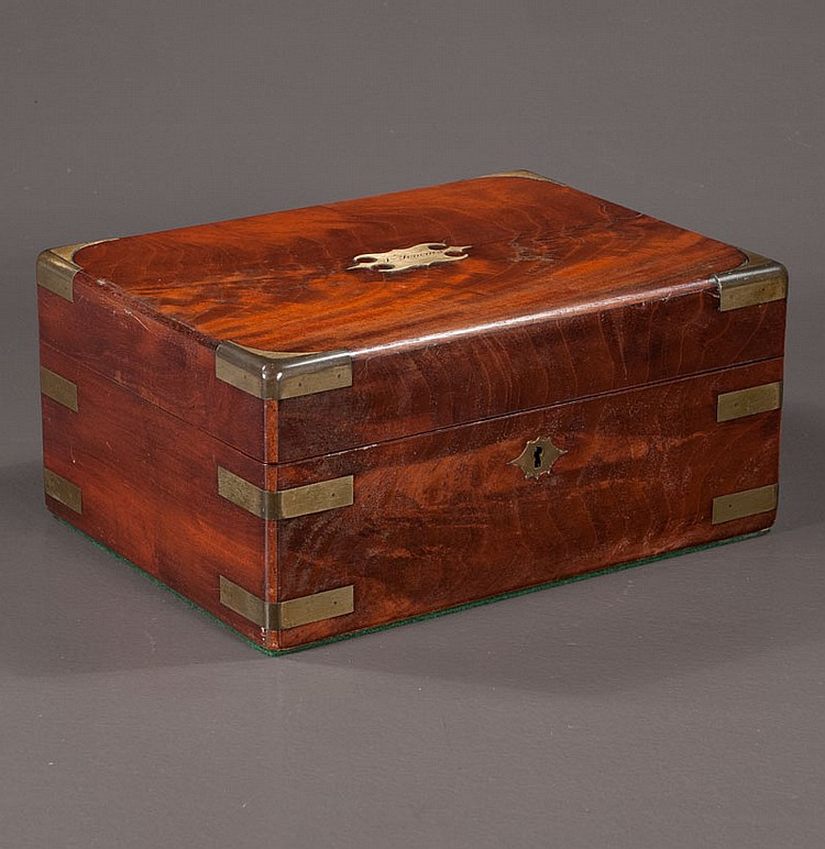 English mahogany brass bound toiletry box with three bottles, c.1840, 12