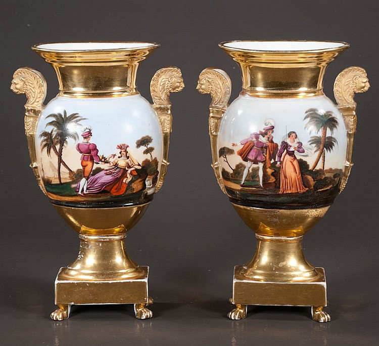 Pair of Charles X Old Paris porcelain vases with scenic and figural decoration and griffin handles, c.1890, 12