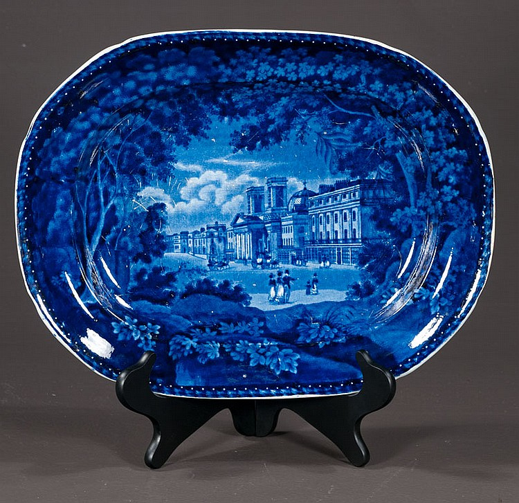 Adams ironstone historical blue and white scenic platter, 16