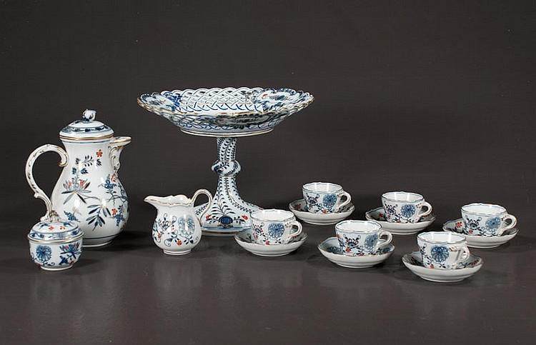 Blue and white Meissen porcelain Blue Onion coffee service with coffee pot-As Found (lid chipped), six cups and saucers, cream and sugar bowl, along with the Blue Onion cake compote-AF (old repair), 11