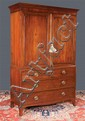 Sheraton mahogany linen press with panel doors, shaped apron and splay feet, c.1840, 50