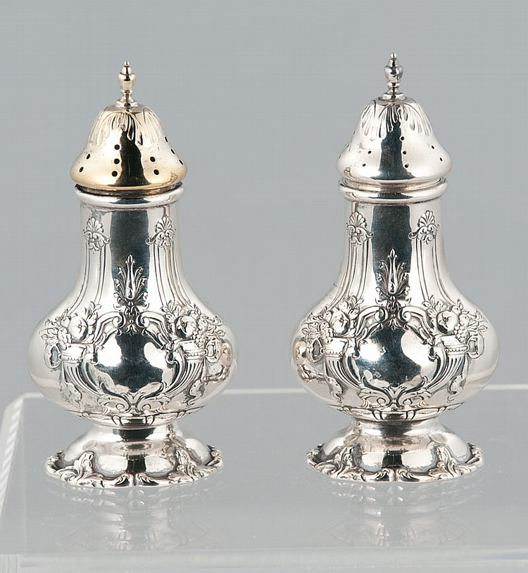 Pair of Red and Barton sterling silver salt and pepper shakers in the Francis I pattern, 5