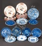 Group of Wedgwood china with cobalt blue and bittersweet floral decoration, 13 soup bowls, six dinner plates, 10