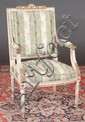 Louis XVI painted and gilt bergere attributed to Jacob covered in stripe and floral silk fabric, 25