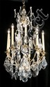 Pair of antique French nine branch brass and crystal chandeliers, 45