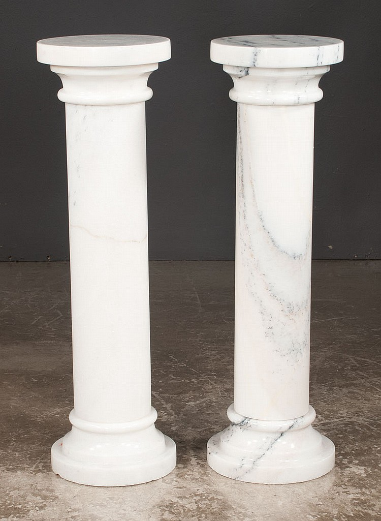 Pair of white Carrara marble columns, 12