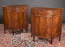 Pair of Sheraton mahogany demilune cabinets with cross-banded tops, one drawer over a cupboard door and tapered fluted legs, c.1900, 36