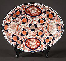 Oval Imari platter with cobalt blue and bittersweet, floral and lobster decoration, c.1860, 15