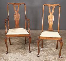 Set of eight Queen Anne mahogany dining chairs with urn shaped splats, cabriole legs and pad feet, c.1900, armchairs-22