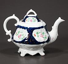 English china tea pot with cobalt blue and gold and multicolor floral decoration, c.1890, 9