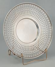 Fine sterling silver plate with wide reticulated border, c.1920, by