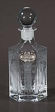 Crystal bourbon decanter with etched and cut, scenic and figural design with sterling silver bourbon label, c.1920, 11