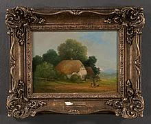 Oil painting on canvas, landscape scene with thatch roof cottage, signed