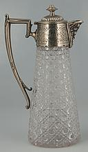 English cut crystal decanter in the Russian cut design with silver plated top and handle, c.1920, 11