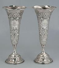 Pair of sterling silver trumpet vases by