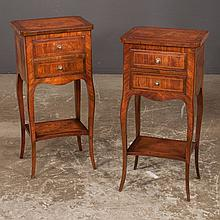 Pair of kingwood and floral marquetry petite two drawer commodes on tapered cabriole legs, 11