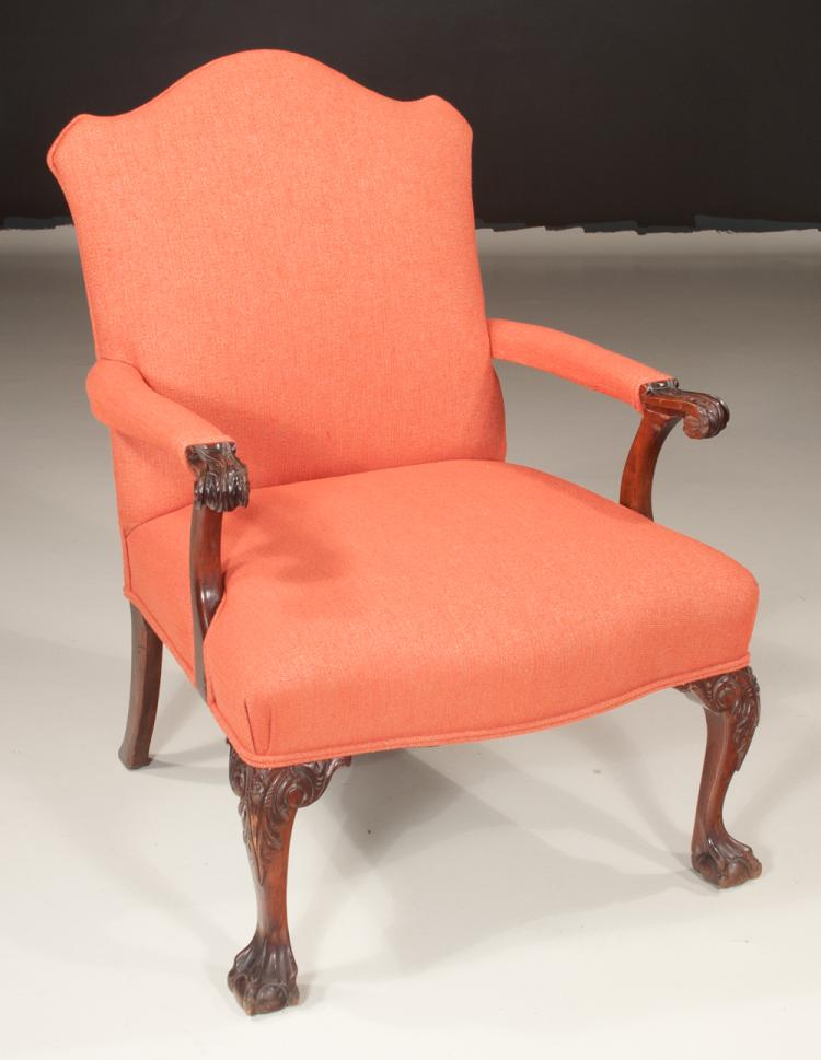 Walnut upholstered open armchair having arched back padded for Furniture northgate