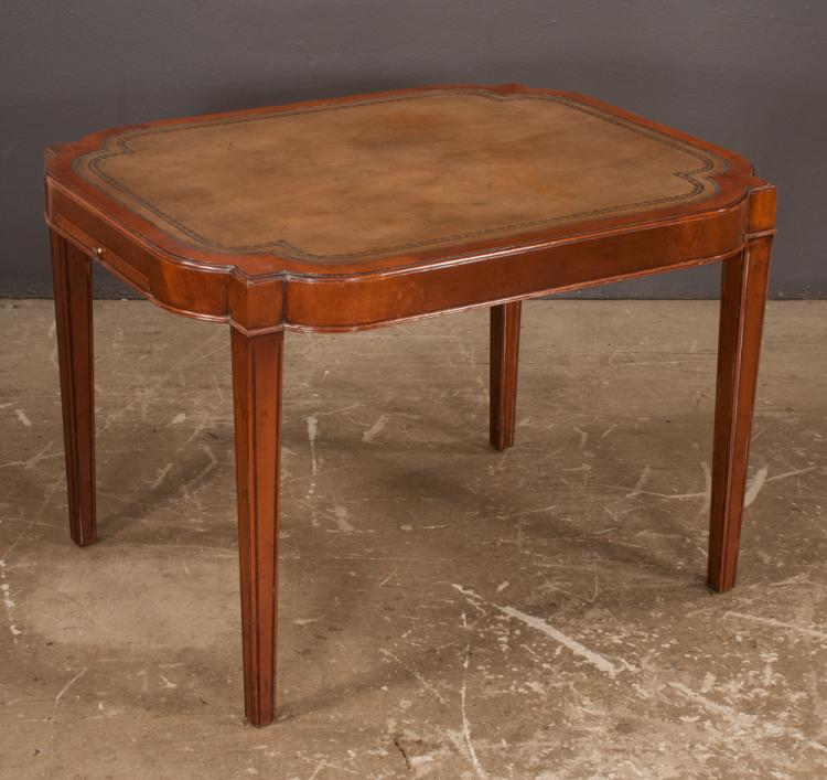 English sheraton style mahogany cocktail table with inset le for Furniture northgate