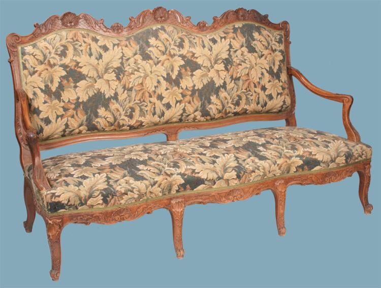 Louis xv walnut canape with arched and shell carved back sh for Canape shells