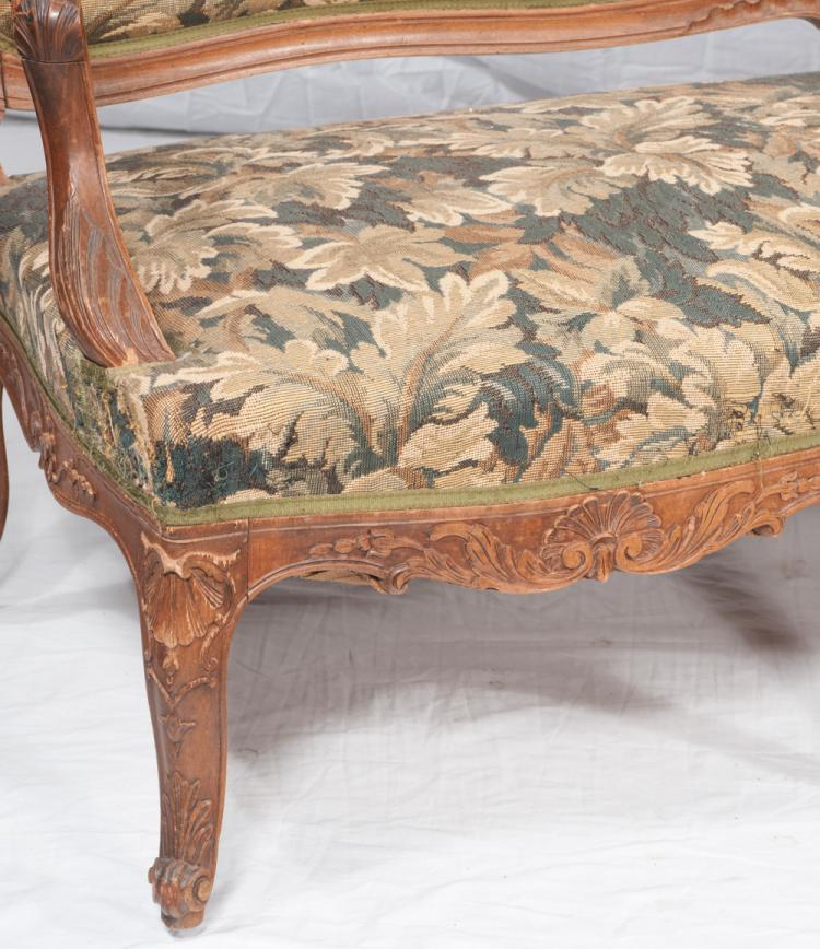 Louis xv walnut canape with arched and shell carved back sh for How to make canape shells at home
