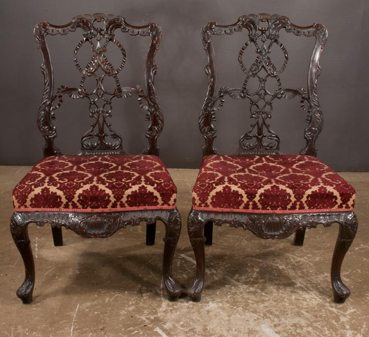 Fine set of four chippendale mahogany side chairs with inter for Furniture northgate