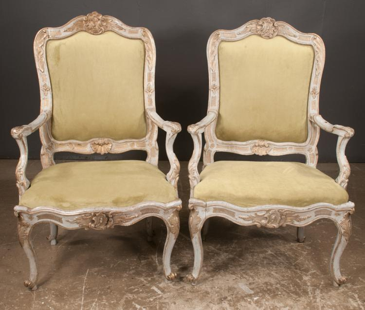 Pair of louis xv decorated fauteuils with leaf and shell car for Furniture northgate