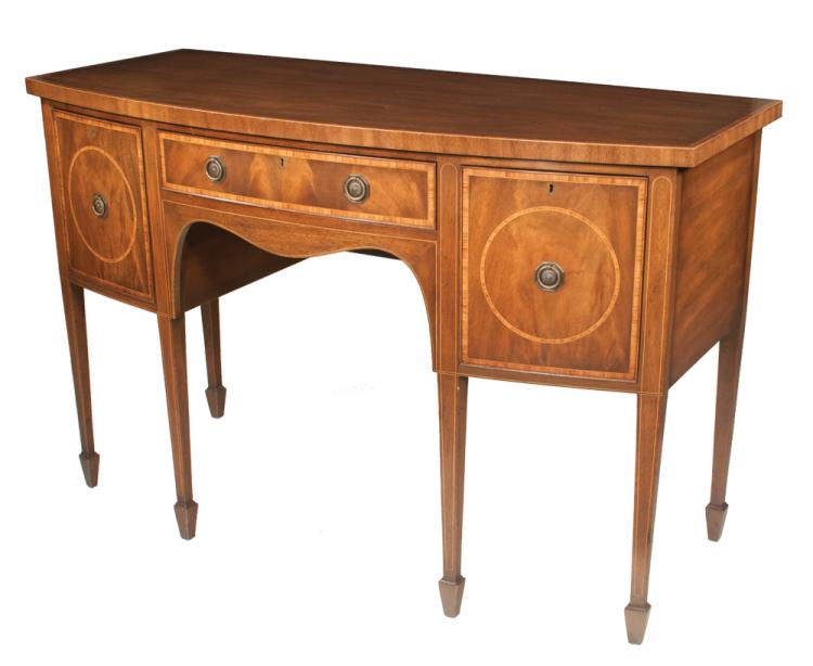 Kittenger inlaid sheraton style mahogany bow front sideboard for Furniture northgate