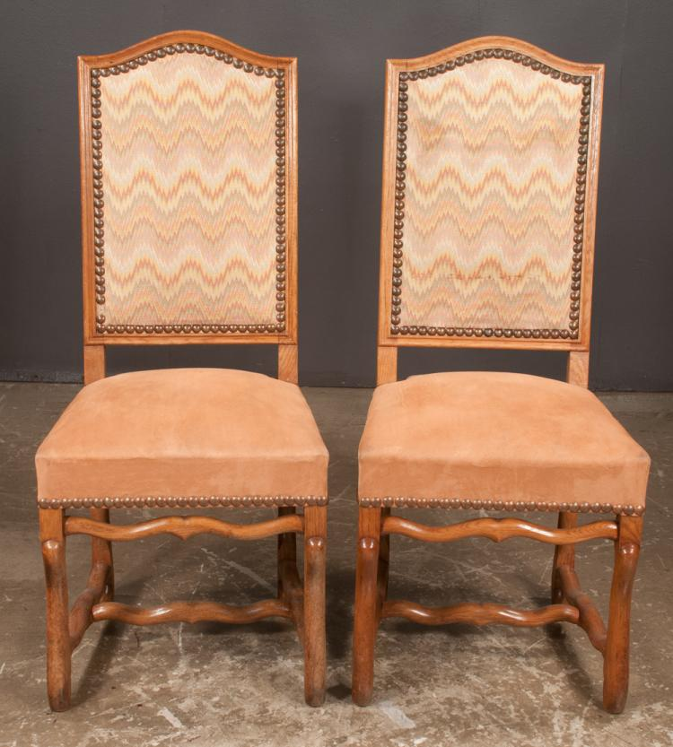 Set of six country french walnut side chairs with upholstere for Furniture northgate