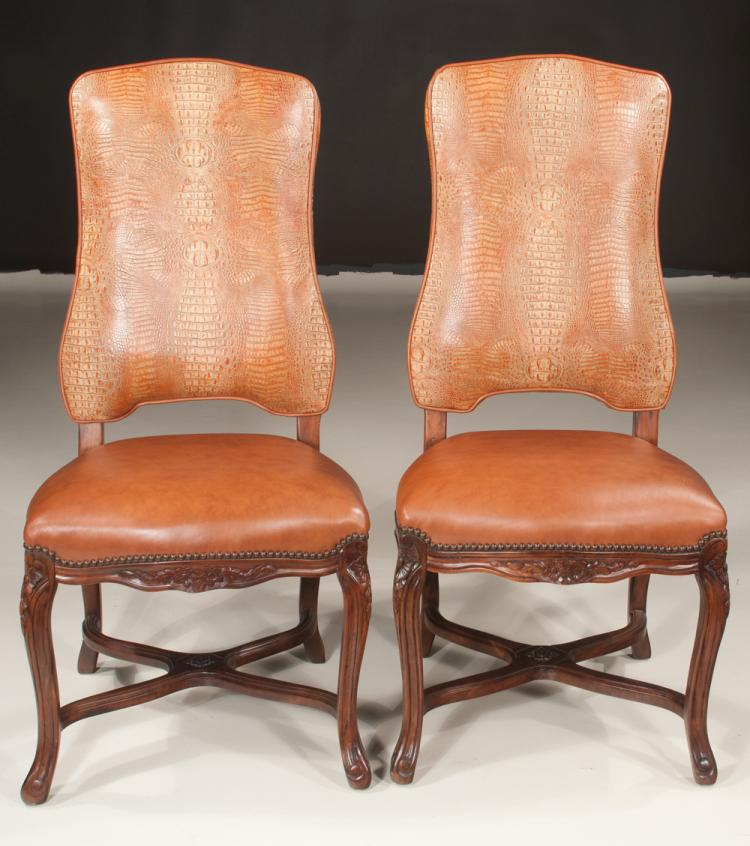 Pair of country walnut side chairs having backs upholstered for Furniture northgate