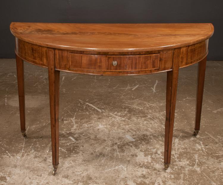 Sheraton mahogany demi lune console table with satinwood ban for Furniture northgate