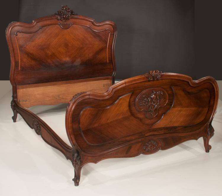 Louis xv style walnut bed with scroll carved headboard foot for Furniture northgate