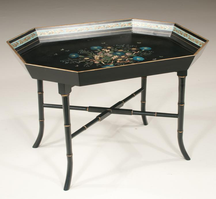 Black painted rectangular tray top cocktail table having han for Cocktail table accessories