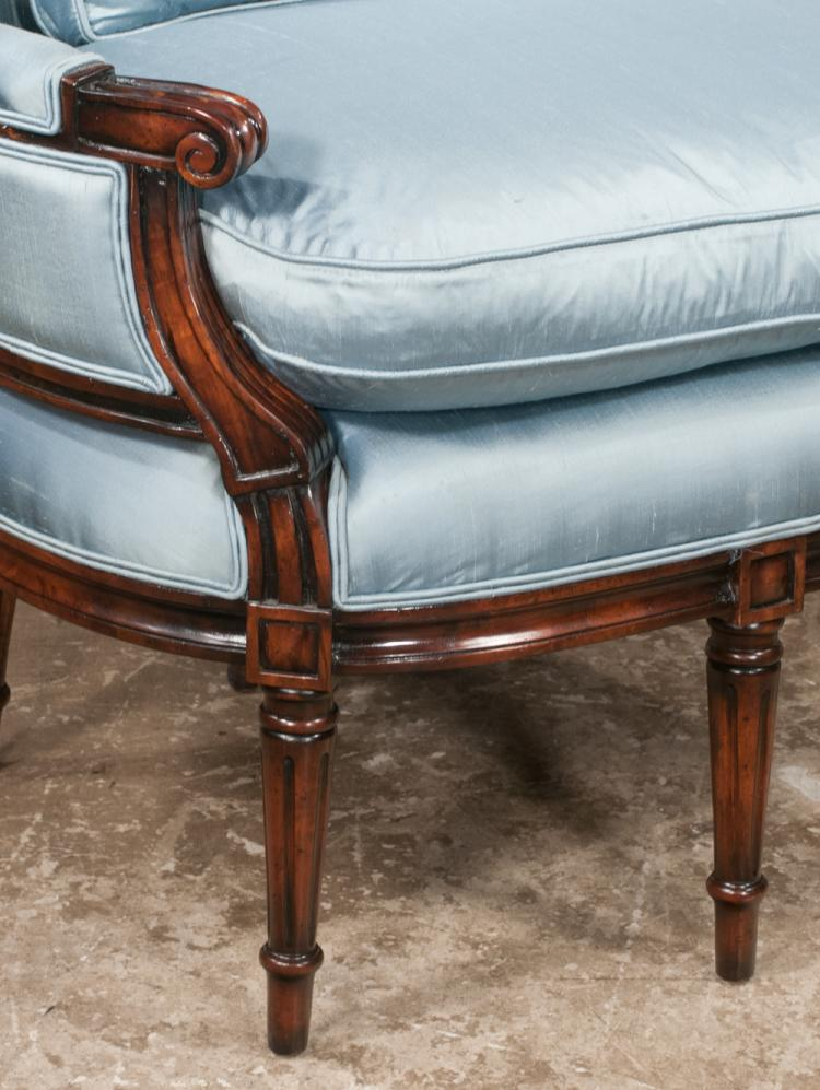 Louis xvi style mahogany bergere with arched back scroll ca for Furniture northgate