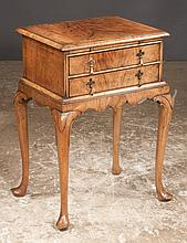 Queen Anne style walnut two drawer side table with cross-banded top, shaped apron, cabriole legs and slipper feet, c.1900, signed