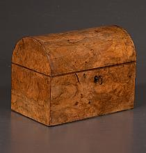 Sheraton walnut dome top tea caddy, interior fitted with two rounded top tea canisters, c.1890, 9