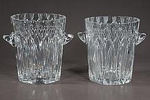Pair of cut crystal ice buckets with shaped tops and shaped handles, 8